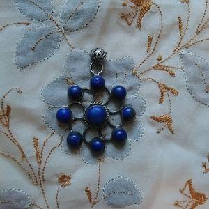 Sterling silver Lapiz Lazuli mandala pendant